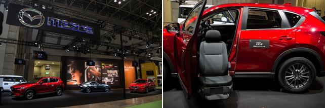 東京ビッグサイト「第44回 国際福祉機器展 H.C.R.2017」マツダ展示ブース、「CX-5」助手席リフトアップシート車