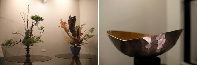 池坊作品の生け花 と鎚起銅器「魂銅器」